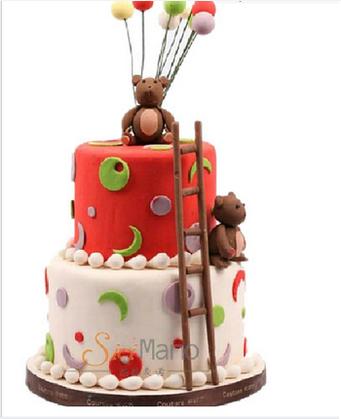 西西麦诺卡通可爱蛋糕|翻糖蛋糕祝福传递|双层蛋糕