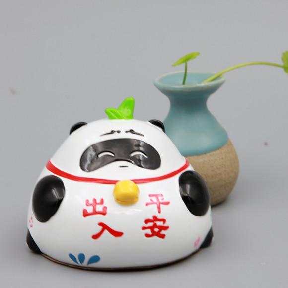 懒拖拖 熊猫汽车摆件卡通可爱车内饰品创意家居办公摆设 出入平安