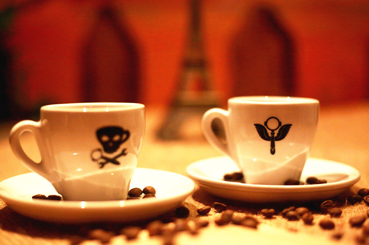 意式咖啡手柄 手绘