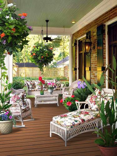 露台花园装修效果图 露天阳台室外花园设计图片