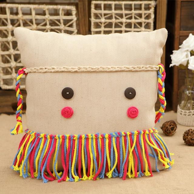 麻麻彩 原创棉麻卡通情侣手工可爱抱枕靠枕 个性时尚