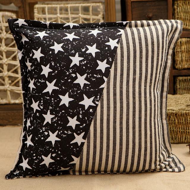 新款黑色五角星抱枕 简约靠垫 时尚沙发伴侣