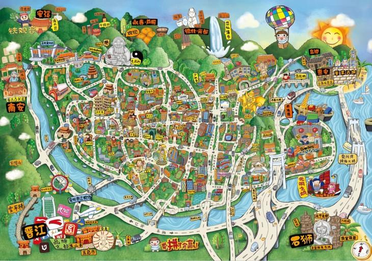 畅游泉州手绘地图