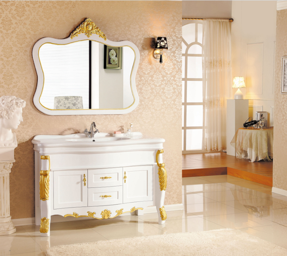 欧式描金橡木浴室柜