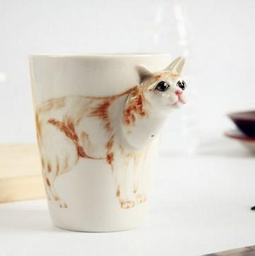 3d立体陶瓷杯纯手绘动物杯个性彩绘水杯卡通杯子创意