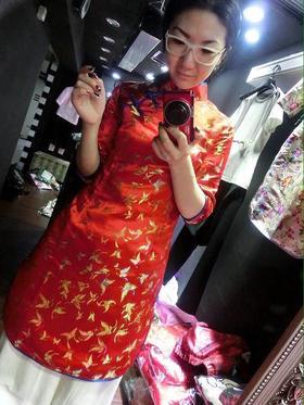 蝴蝶锦缎旗袍上衣