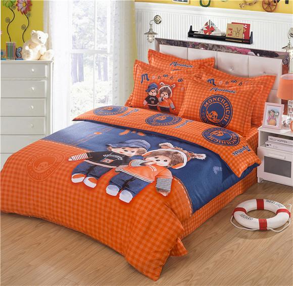 蒙奇奇四件套 卡通床上用品 床品 被套 床单 枕套