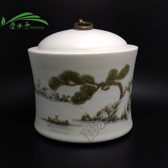 釉上彩全手绘茶叶罐