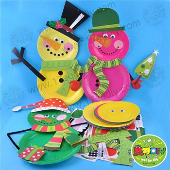 雪人纸盘 节日手工diy材料幼儿园手工材料批发儿童