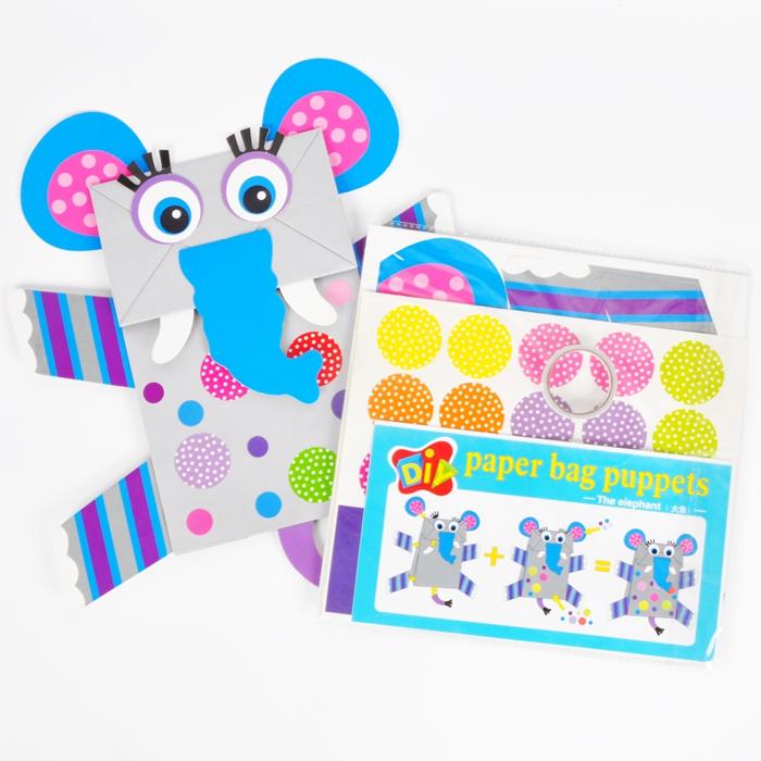 纸袋手偶幼儿园黏贴手工diy材料制作美可diy儿童创意艺智趣味礼物