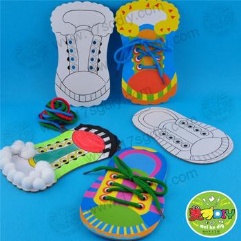 穿鞋带 穿鞋板(单个装)手工益智玩教具