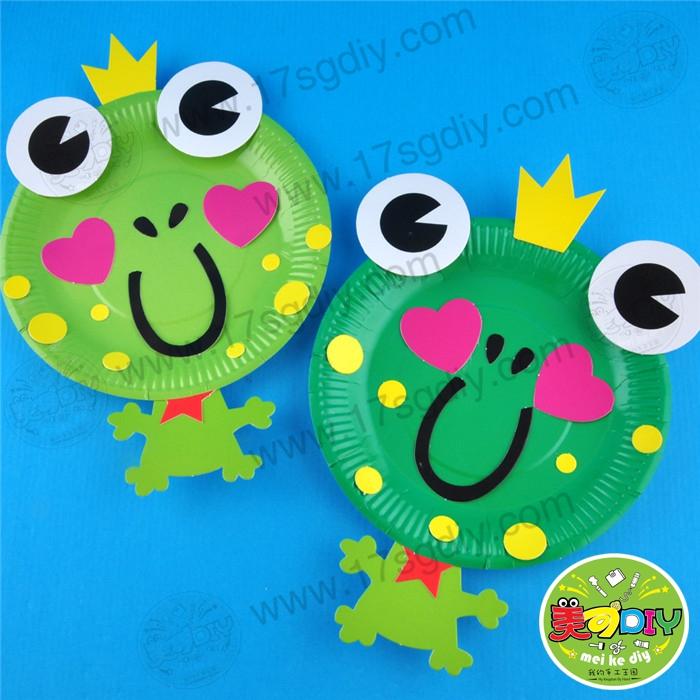 纸盘青蛙 小青蛙手diy制作材料 益智手工材料 幼儿园材料批发超市