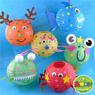 纸灯笼幼儿园儿童手工diy制作材料批发新年玩具热卖
