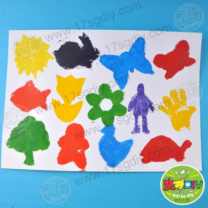 海绵刷印章4个装 幼儿园儿童手工diy创意绘画制作diy基础材料工具