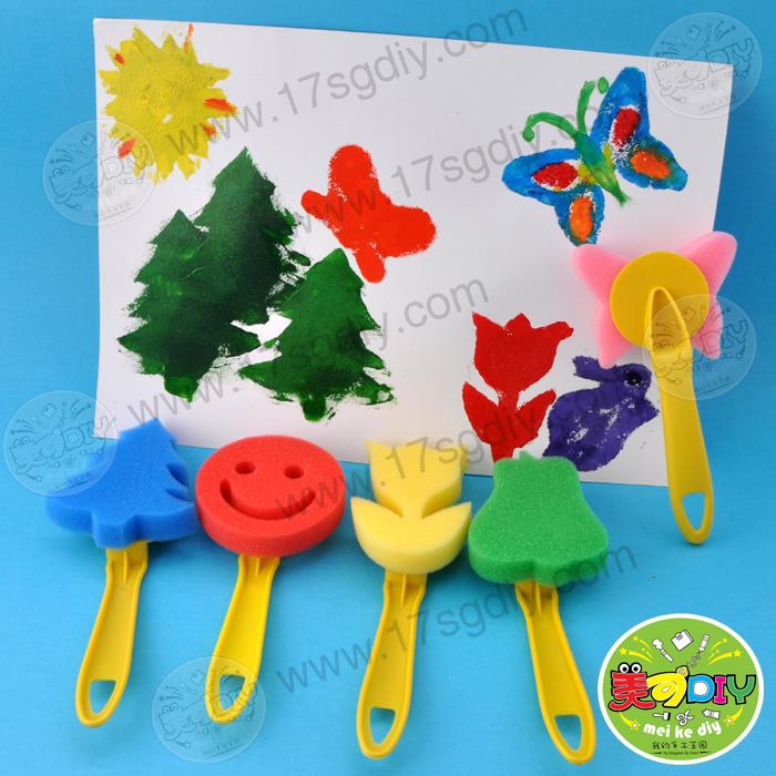 海绵刷印章4个装 幼儿园儿童手工diy创意绘画制作diy