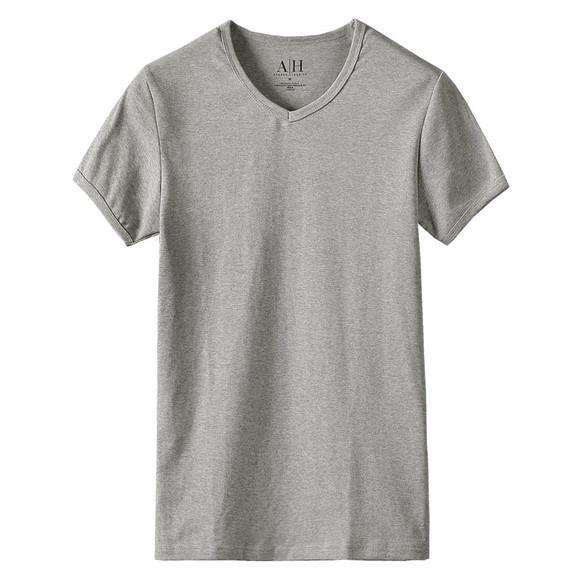 3014基础款纯色修身v领短袖t恤