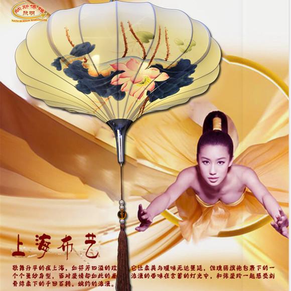 现代中式莲花吊灯笼手绘国画布艺荷叶灯仿古典茶楼灯
