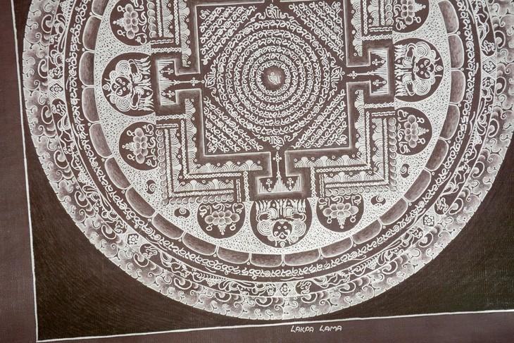 尼泊尔纯银颜料手绘素色坛城唐卡-深红色底