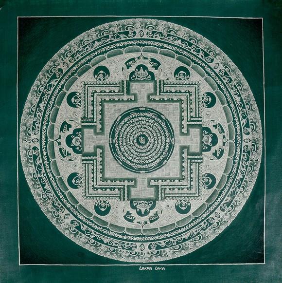 尼泊尔纯银颜料手绘素色坛城唐卡-深绿色底