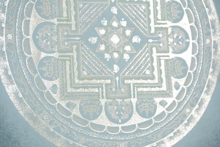 尼泊尔纯银颜料手绘素色坛城唐卡-浅蓝渐变
