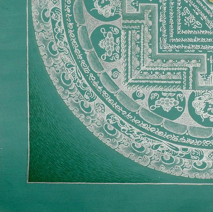 尼泊尔纯银颜料手绘素色坛城唐卡-绿底