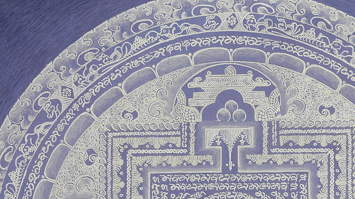 尼泊尔纯银颜料手绘素色坛城唐卡-淡紫渐变