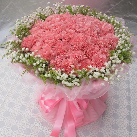 母亲节花束33朵粉色康乃馨