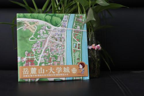 岳麓山大学城手绘地图 - 长沙主题邮局