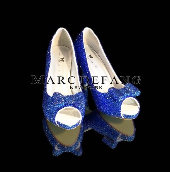 宝石蓝奢侈水晶新娘高跟鞋