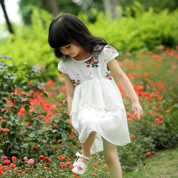 可心林2015夏季时尚休闲新款韩版女童装连衣裙可爱风
