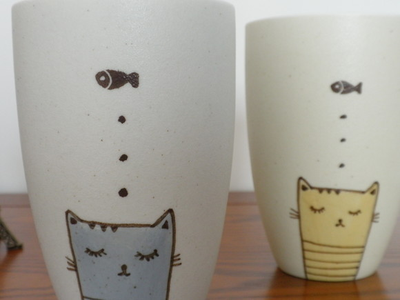 多纬度┃景德镇手绘卡通猫思念鱼 手工陶瓷水杯,茶杯