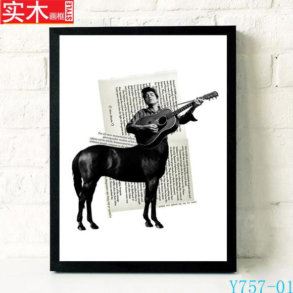 摇滚乐队音乐海报怀旧复古酒吧装饰画琴行挂画壁画有框画鲍勃迪伦图片