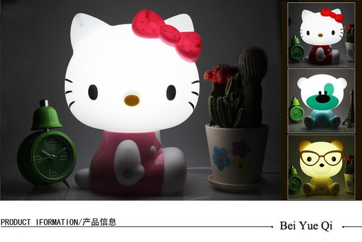 创意可爱时尚卡通触摸kt猫小台灯可调光小夜灯节能插