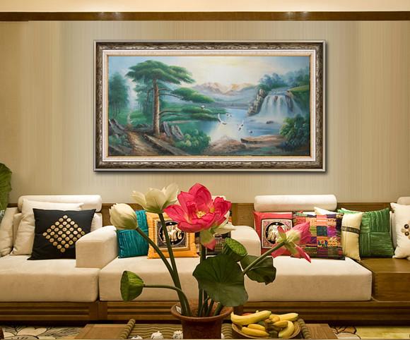 100%纯手绘油画 山水画 客厅装饰画 聚宝盆 办公室装饰画