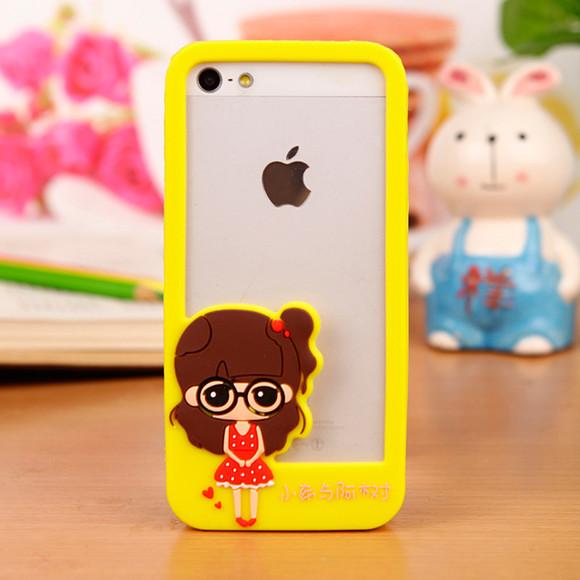 苹果iphone5/5s手机边框卡通可爱萌小希硅胶手机外