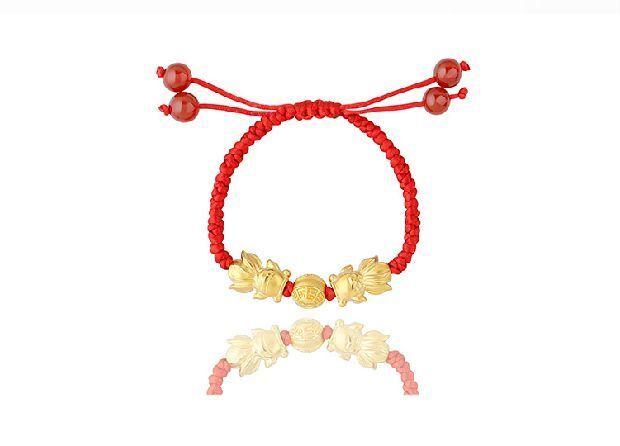 3d硬金双鱼戏珠红绳手链