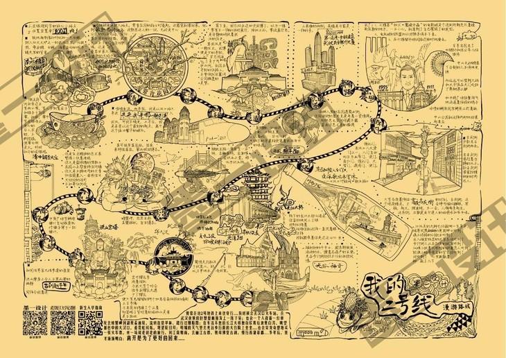 明信片(校园明信片,个人创意明信片,有声明信片),手绘地图