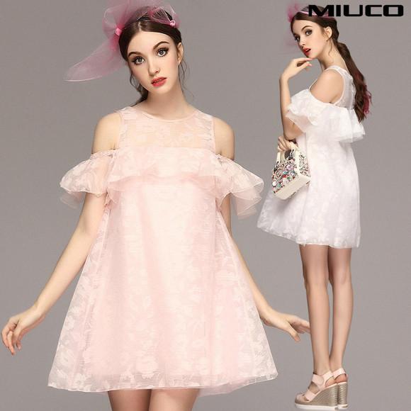 2015夏季女装新品欧式蓬蓬裙欧根纱公主裙露肩荷叶袖礼服裙连衣裙