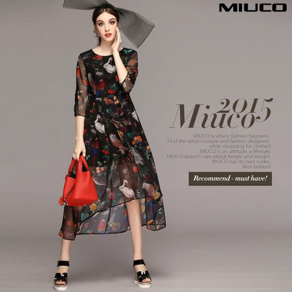miuco2015欧美夏季新款女装梦幻动物印花圆领收腰显瘦