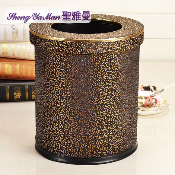 圣雅曼 雕花纹皮质革双层不锈钢垃圾桶 创意欧式酒店时尚家用