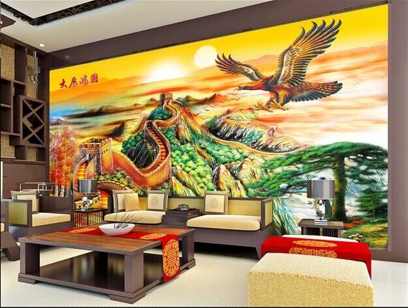 3d立体客厅电视背景墙欧式彩雕瓷砖壁画背景墙山水大