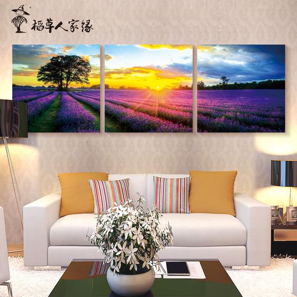 客厅欧式装饰画三联画卧室床头挂画沙发背景壁画墙画