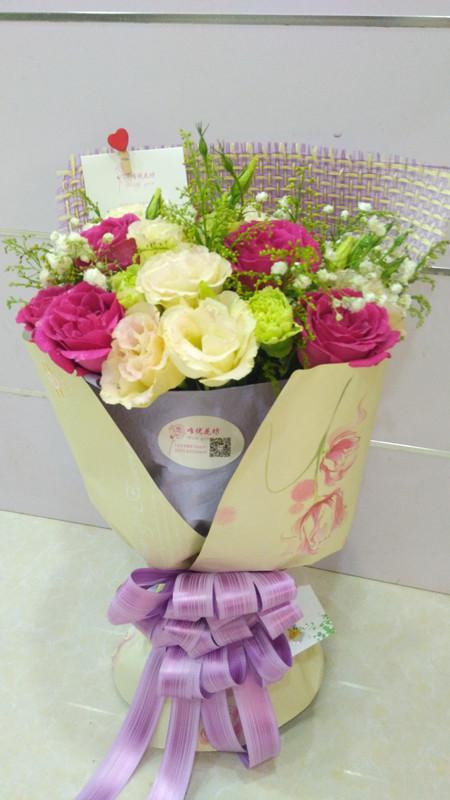 桃红玫瑰11朵康乃馨混搭花束