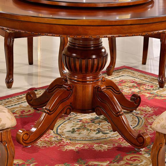 欧式圆形餐桌椅组合带转盘饭桌美式实木圆餐台酒店复古大圆桌t896