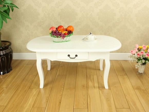 田园实木白色椭圆 茶机 咖啡桌欧式 1米大号客厅茶几江浙沪包邮