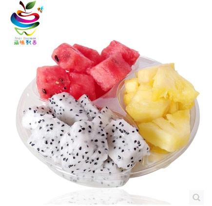 现切鲜果切(西瓜+火龙果+菠萝)3合1水果拼盘-黄瓜拼盘围边二图片