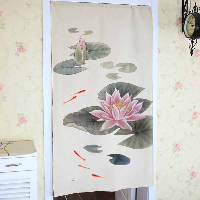 纯手绘中国风荷花门帘 我们真诚为各位亲设计定做各种尺寸的适合家庭