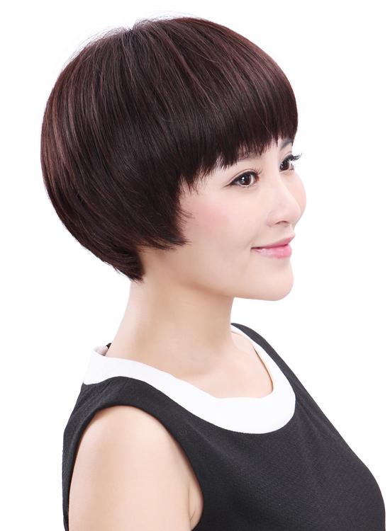 西芙假发女短发蓬松bobo头蘑菇头发型 中年女式假发卷发真发
