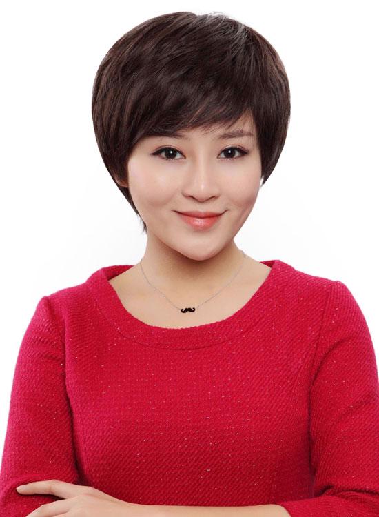 西芙中年女士妈妈真发假发短发 女斜刘海短直发假头套图片