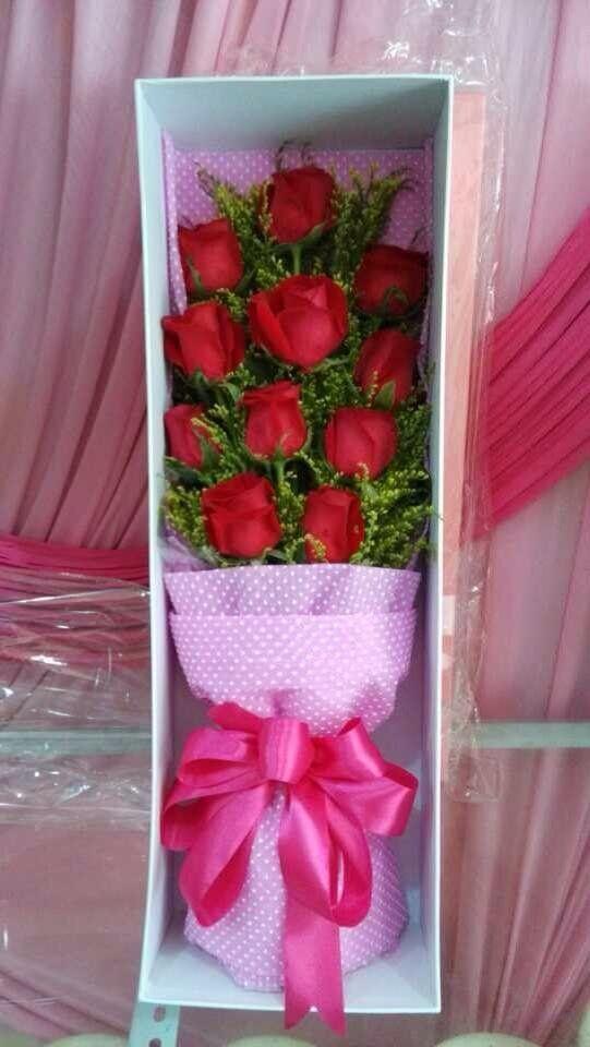 长方形礼盒玫瑰花展示
